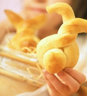 These bunny-shaped rolls are a fun bread to serve for Easter. They also make a special treat for kids the rest  of the year. http://bit.ly/HrbJiG