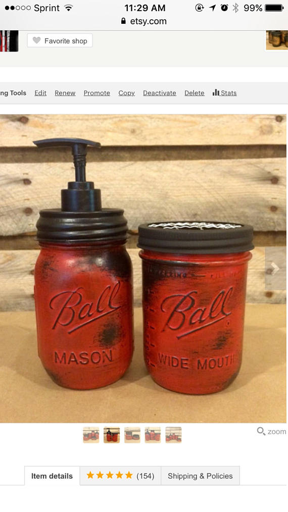 This Beautiful Rustic Red Mason Jar Bathroom Set or Red Mason Jar
