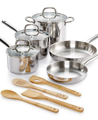 Martha Stewart Collection 12-Pc. Stainless Steel Cookware Set, Only ...