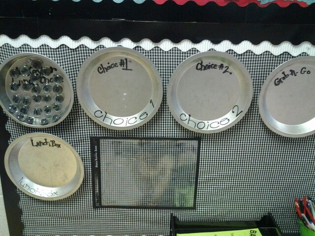 Lunch choice in my classroom. Glass paint on aquarium stones with magnets hot glued to the back for making lunch choices.