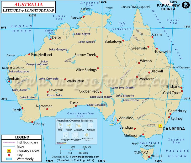 Australia Latitude and Longitude Map lattiude longtitude