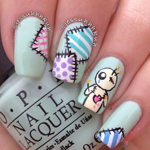 VooDoo doll nails How cute!! Nails by @Jess Pearl Pearl Pearl Pearl - modelos de uas