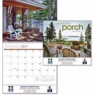 1504 - View from the Porch Relax and unwind with peaceful views of porches and the surrounding countryside. A good choice for realty agents, insurance providers and landscaping businesses. #livebicgraphic #promoproducts #triumphcalendars