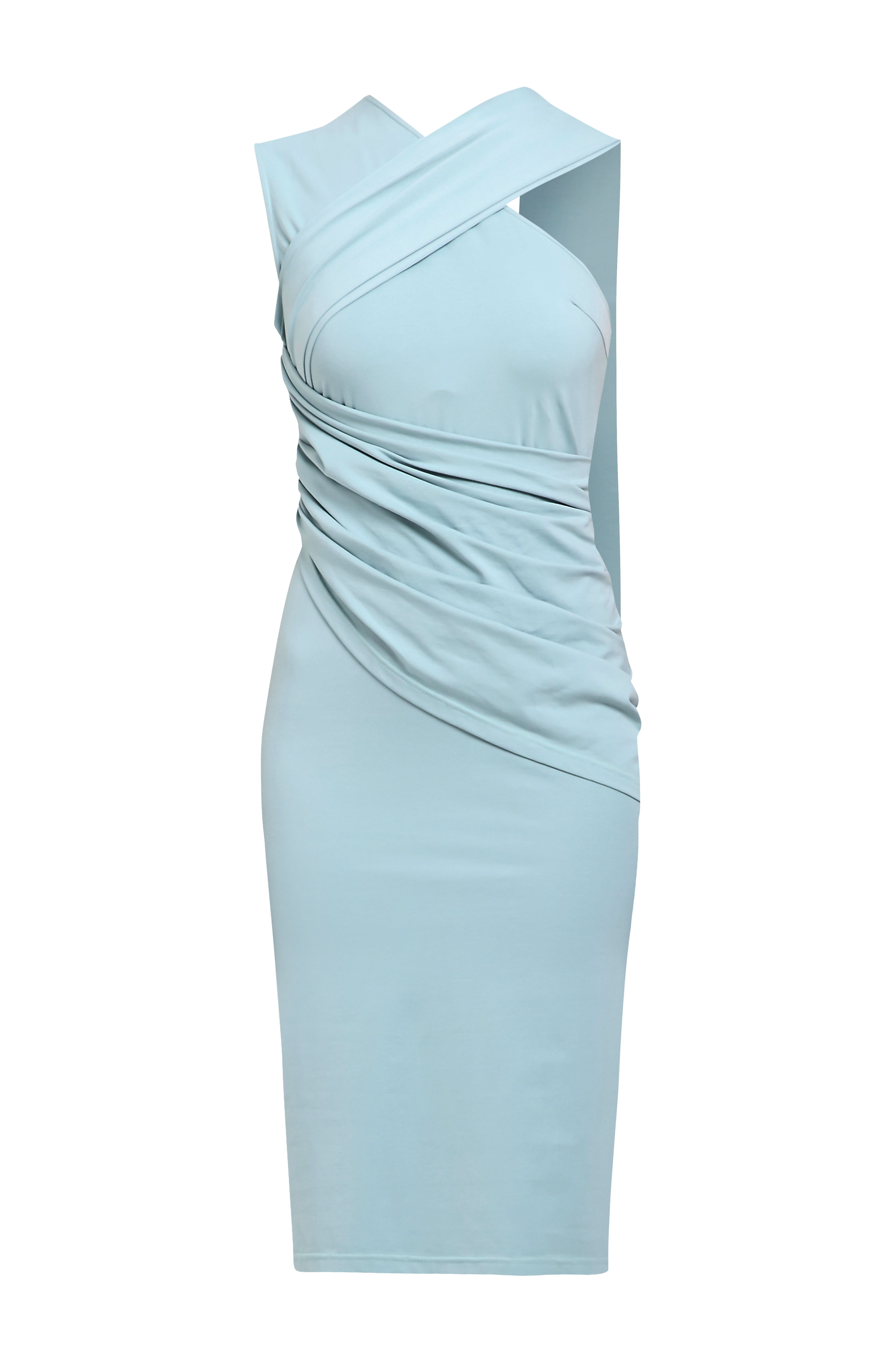 Jersey Dress with Shoulder Drape in Teal  This sleeveless jersey cocktail dress with its free-flowing shoulder drape, ruched waist and side zip will have you feeling like a modern day muse. Pair with patent heels for a truly iconic look.   https://www.paisie.com/collections/new-in/products/jersey-dress-with-shoulder-drape-in-teal