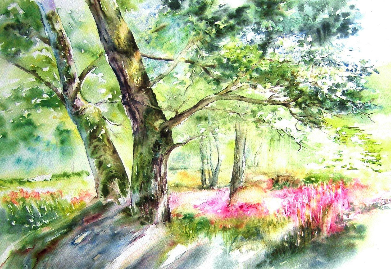 Aquarelles Vernies Sur Papier Yupo Peinture Paysage Les Arts