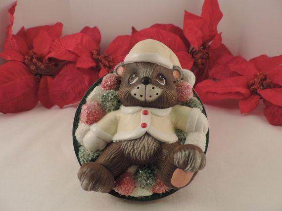 Ceramic Santa Bear Gumdrop Candy Lidded Bowl by Bluefrogceramics