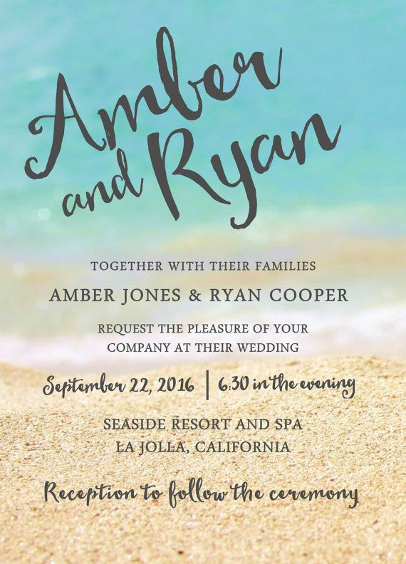 Beach Wedding Invitation Ocean And Sand In The Background Printable File Jpg Or Pdf Reception Invitations Wedding Reception Invitations Beach Theme Wedding
