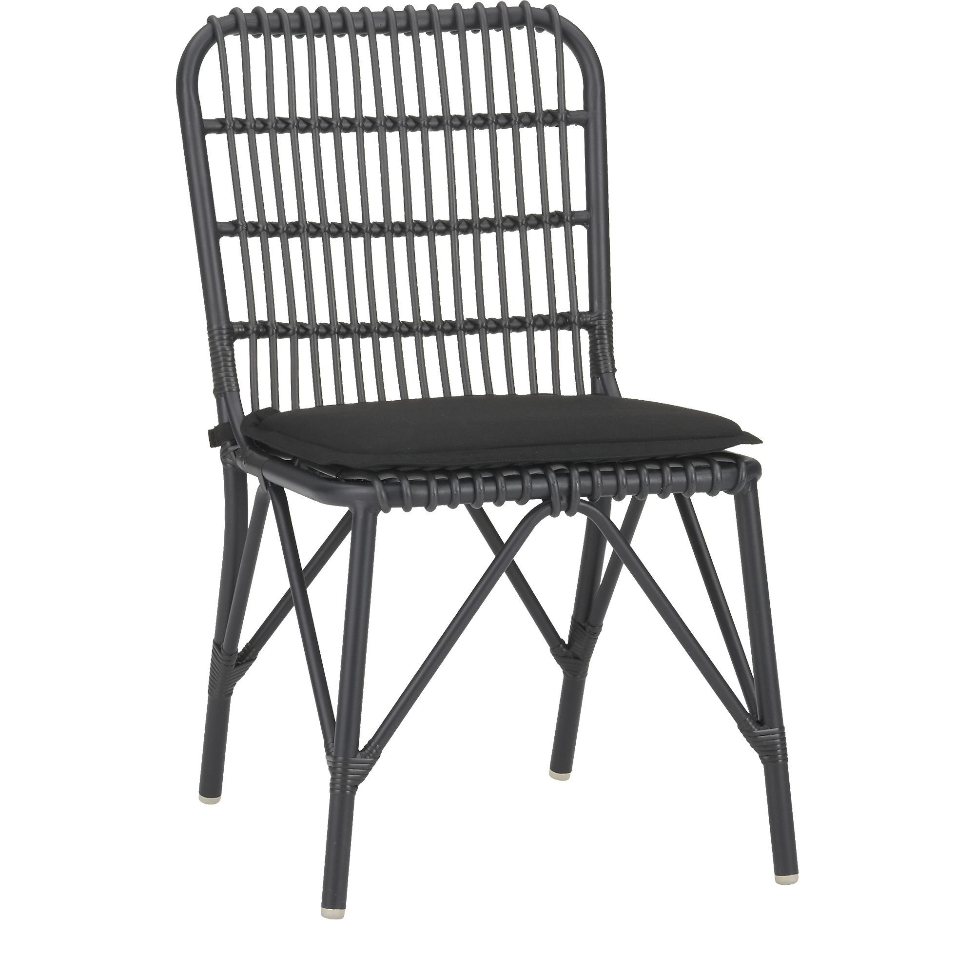 Kruger Black Dining Chair with Sunbrella® Black Cushion in Outdoor ...