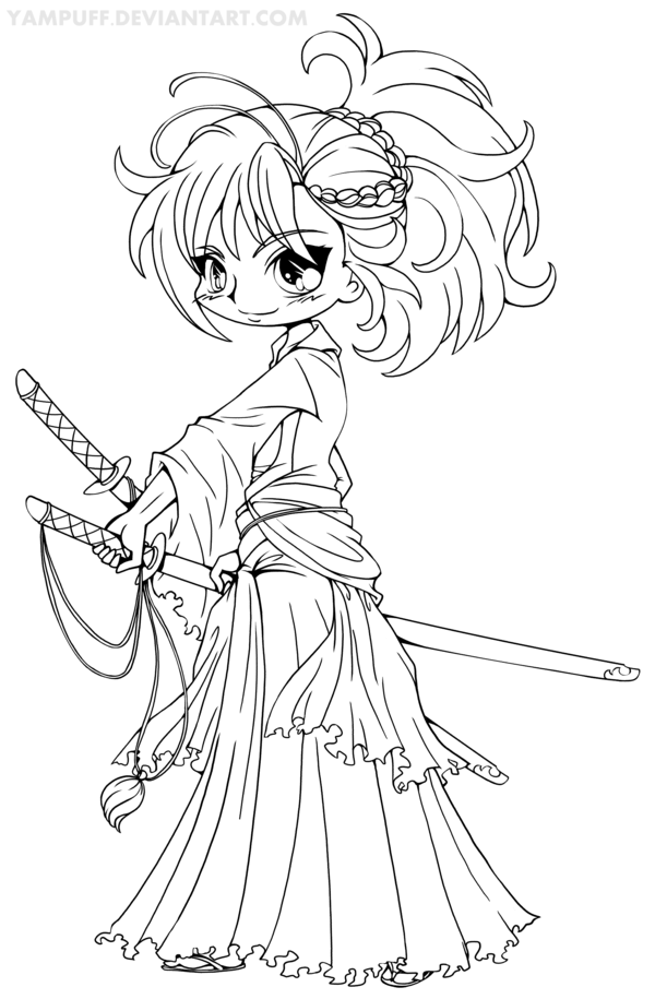Musashi Miyamoto Chibi Lineart By Yampuff On Deviantart Chibi Coloring Pages Unicorn Coloring Pages Cute Coloring Pages