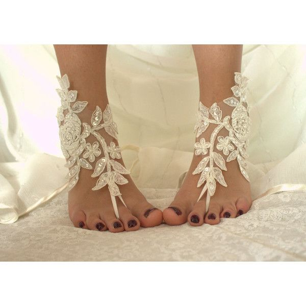 İvory lace.Barefoot Sandals, french lace, Nude shoes, Foot... ($25) ❤ liked on Polyvore featuring shoes, sandals, nude shoes, victorian shoes, lacy shoes, nude bridal shoes and bride sandals