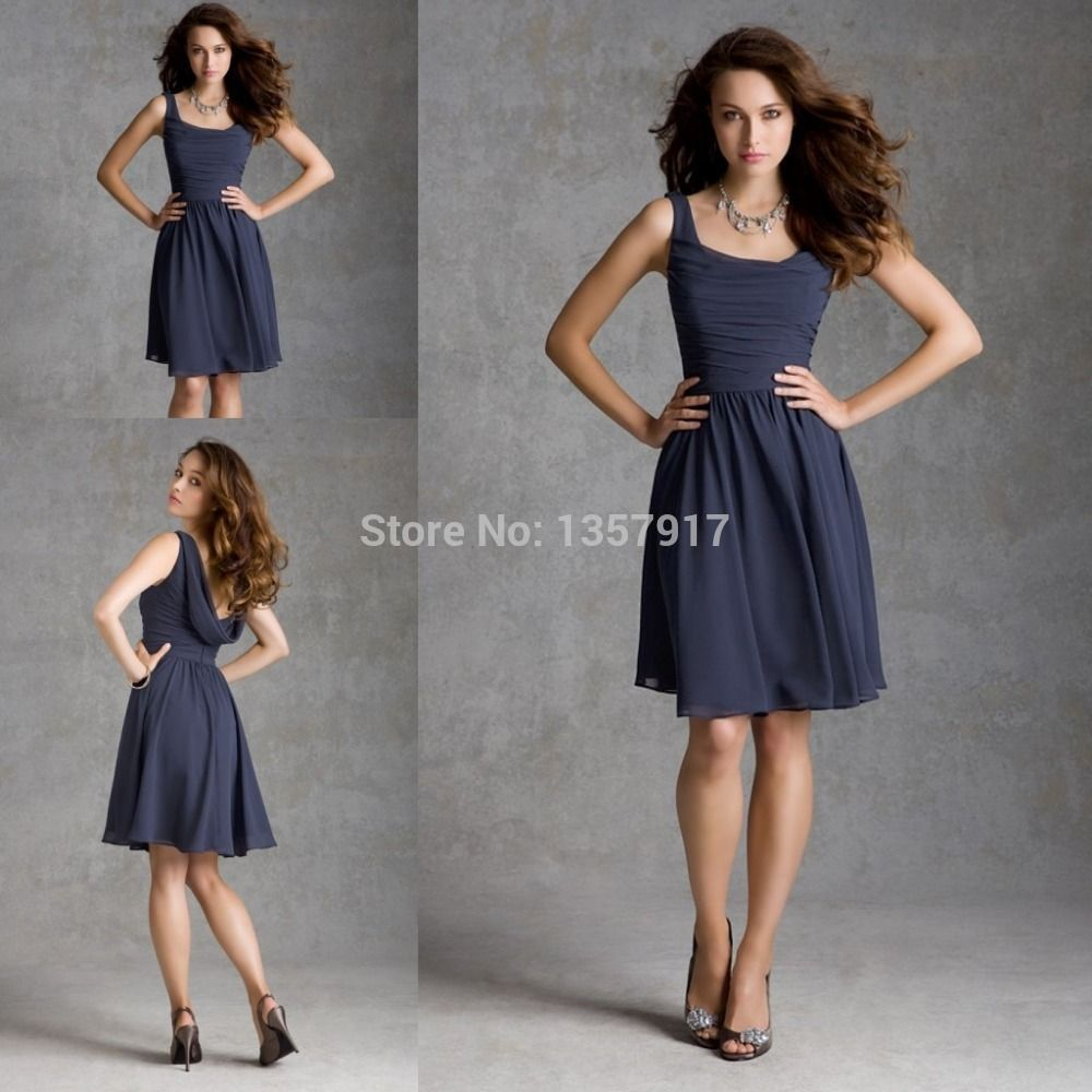 Navy knee length dress good dresses short navy blue bridesmaid dress knee length with straps chiffon girls brides maid dress short ombrellifo Gallery