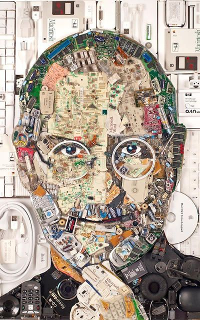 See A Steve Jobs Portrait Made Entirely From Computer Guts Waste Art Collage Portrait Steve Jobs