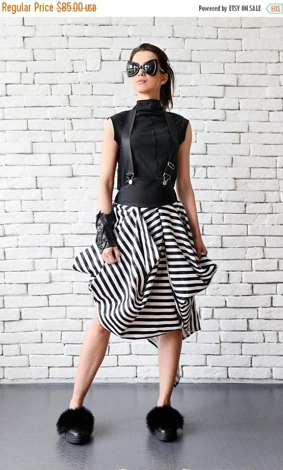 SALE Asymmetric Black and White Skirt/Suspenders Stripe