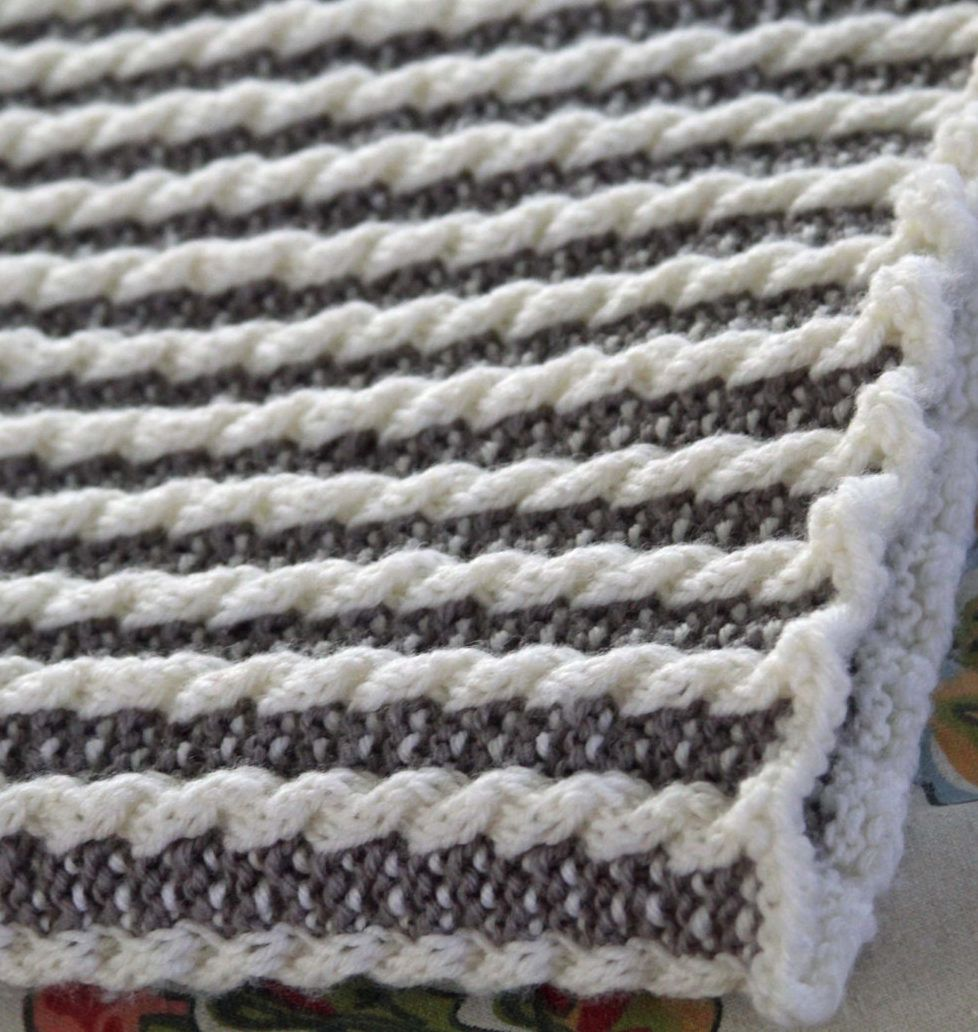 Knitting Pattern for Timeless Baby Blanket - Easy stroller blanket ...