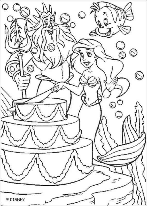 Ariel Cutting Birthday Cake Coloring Page Camille Ariel Hello