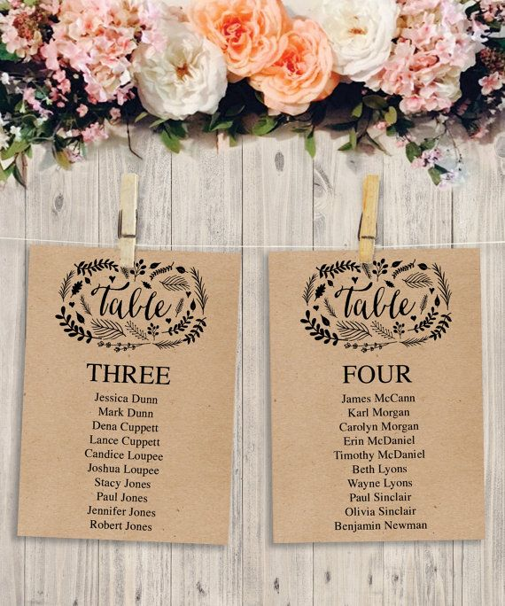 Woodland Foliage Printable Wedding Table Arrangement Wedding