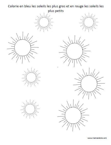 Colorie en bleu les soleils les plus gros - Activité à imprimer
