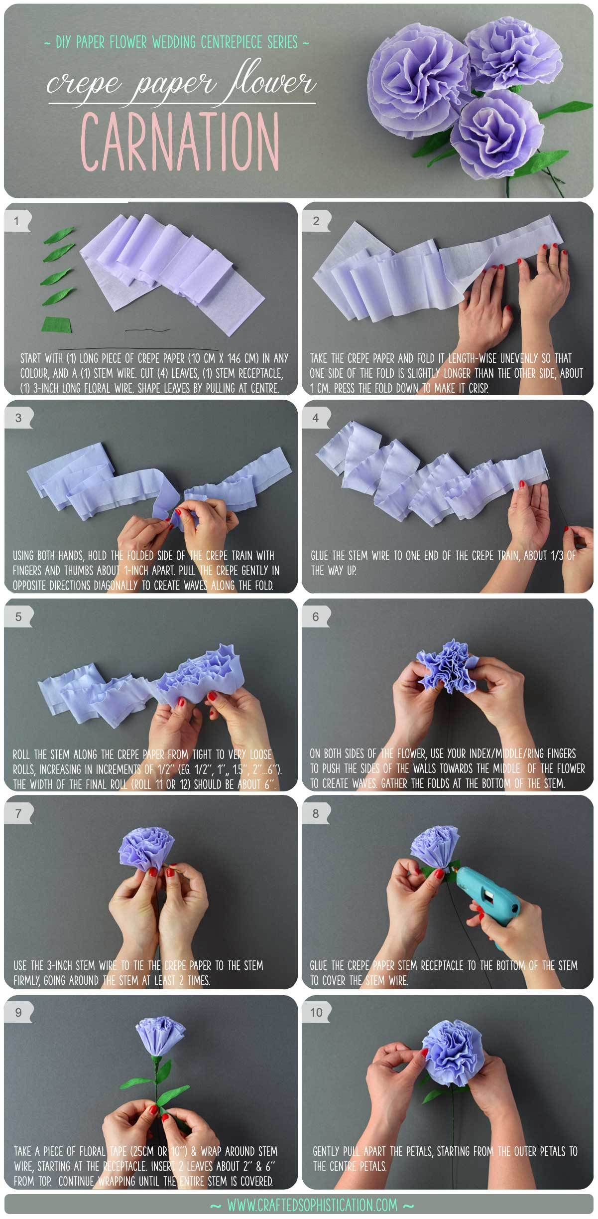 Diy Crepe Paper Flower Carnation Paper Flowers Diy Paper Flower