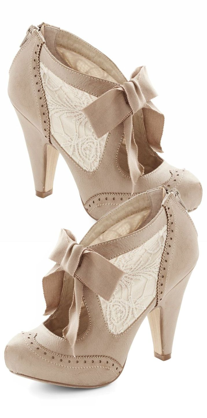 Shoes for light pink dress  Taupe Lace Heels  LOVE  SHOE FASHION AND HANDBAG  Pinterest