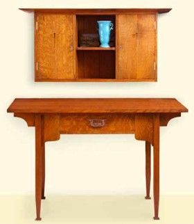 Arts and Crafts Desk and Wall Cabinet Plan (Print Plan)