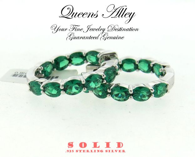 5.50ct NANO Emerald CZ .925 Solid Sterling Silver Hoop Earrings. Starting at $1