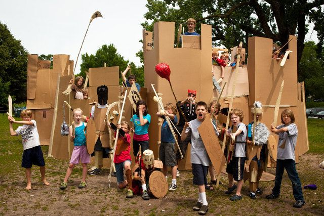 Adventures In Cardboard is a series of 1-week summer camps where kids get to design and build their own armor, weapons and castles out of cardboard.