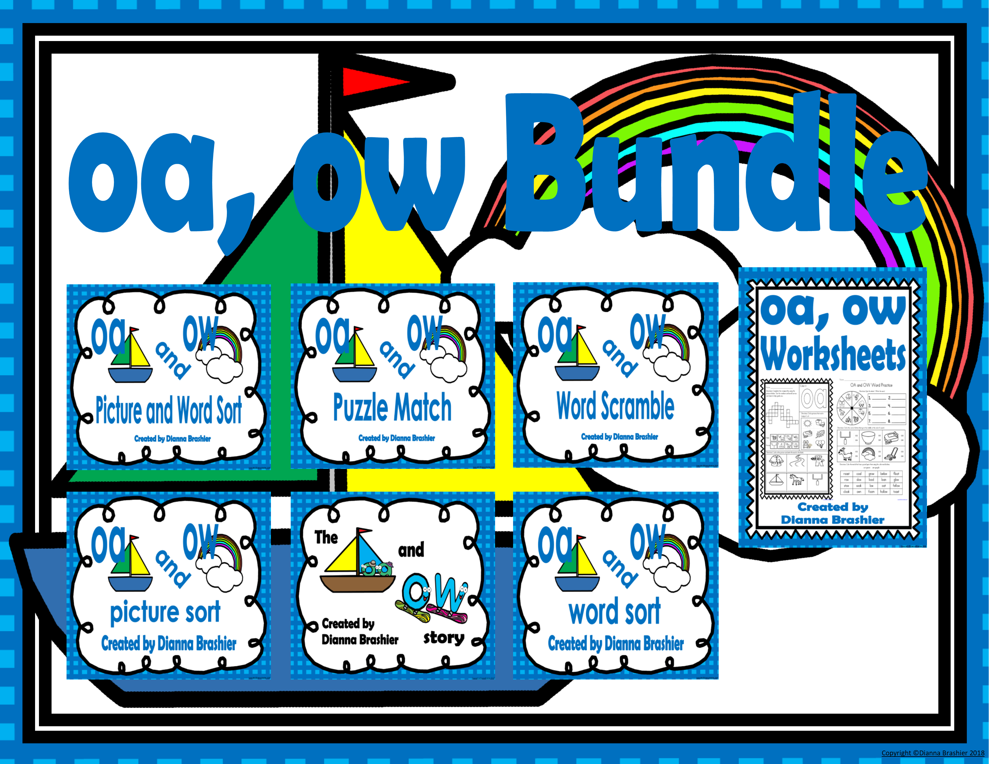 Oa Ow Literacy Activities Bundle With Assessment Teaching Resources