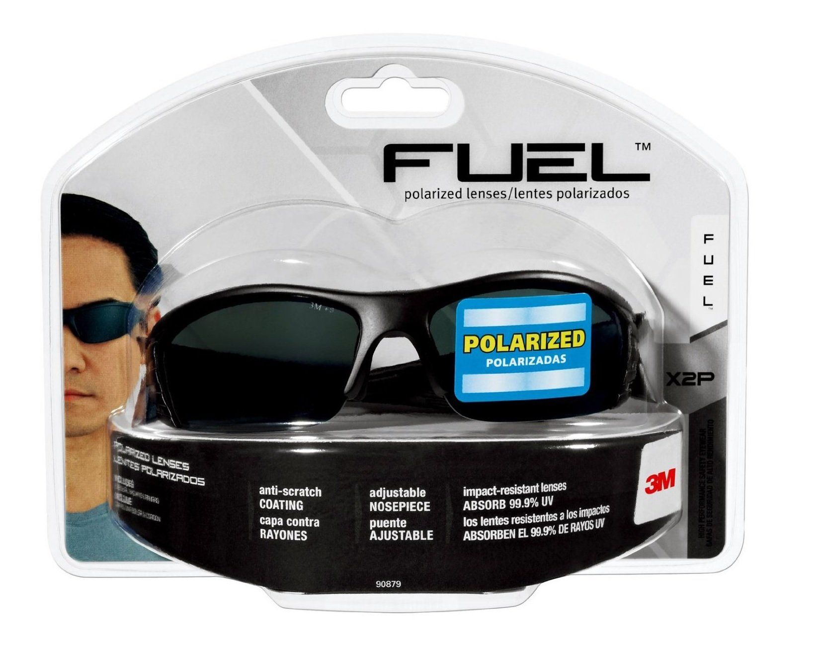 3M 9087980025 Fuel X2P Polarized Safety Glasses, Gray