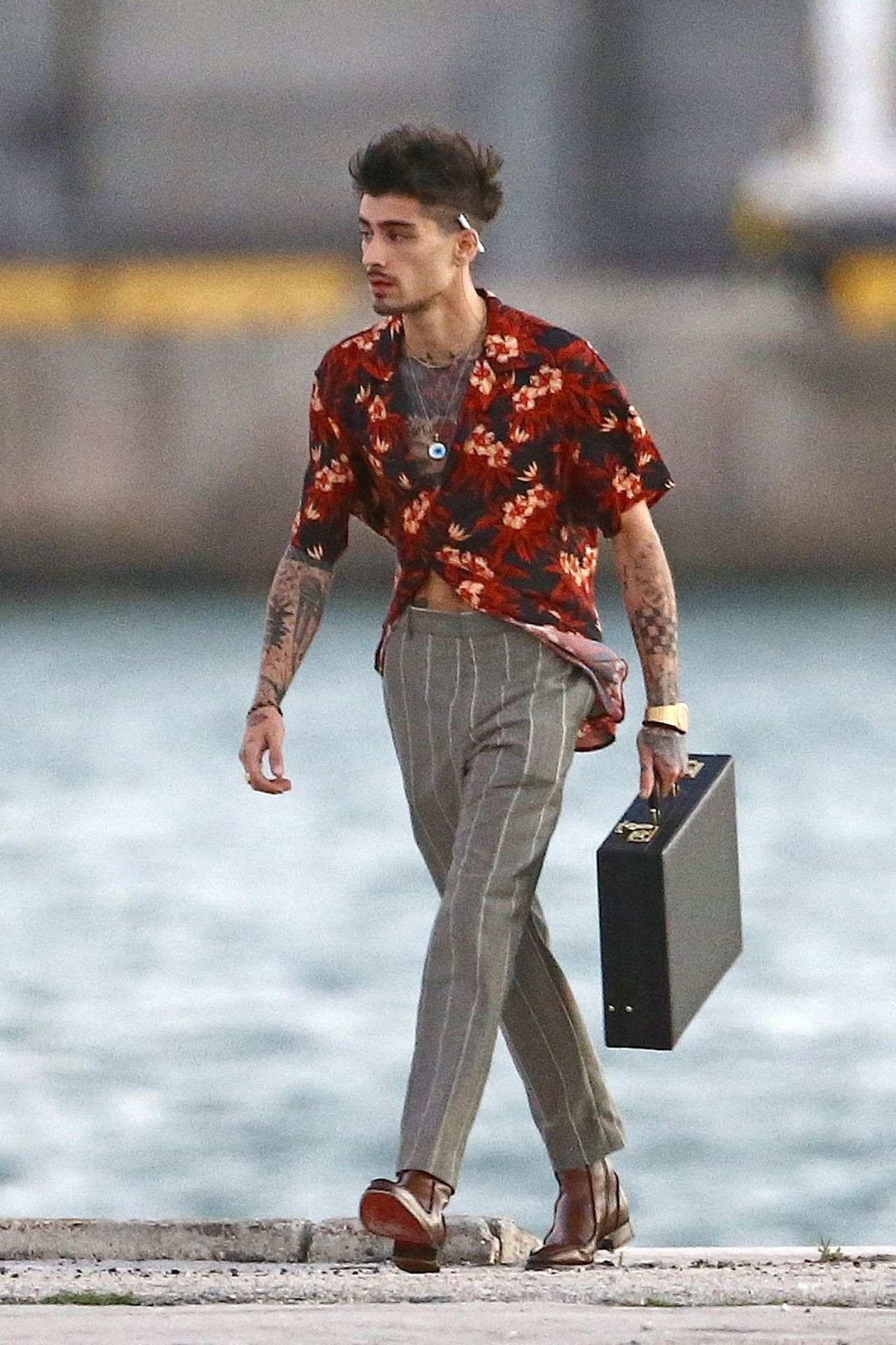 Zayn shooting a music video in Miami on March 3, 2018.