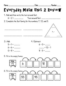 Everyday Math - Second Grade Unit 2 ReviewTeacher can use this ...
