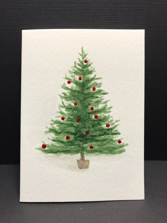 Easy Diy Christmas Card Ideas You Ll Want To Send This Season Snowman Crafts Easy Painted Christmas Cards Christmas Tree Drawing Watercolor Christmas Tree