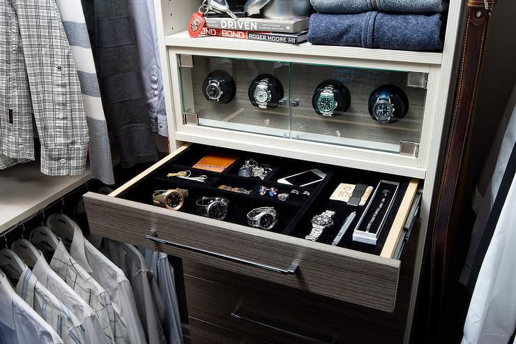Masculine Walk In Closet Features A Dresser Fitted With A Velvet Lined  Jewelry Drawer Under