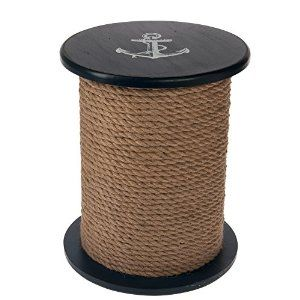 Amazon.com : Round Natutical Wooden Stool / Accent Table : Patio, Lawn & Garden