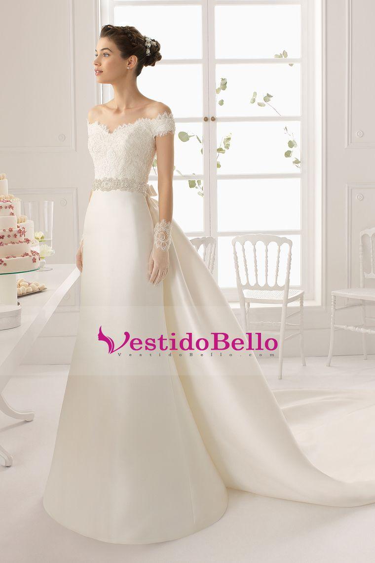 2015 cuello en V Off La vaina del hombro / columna vestido de novia ...