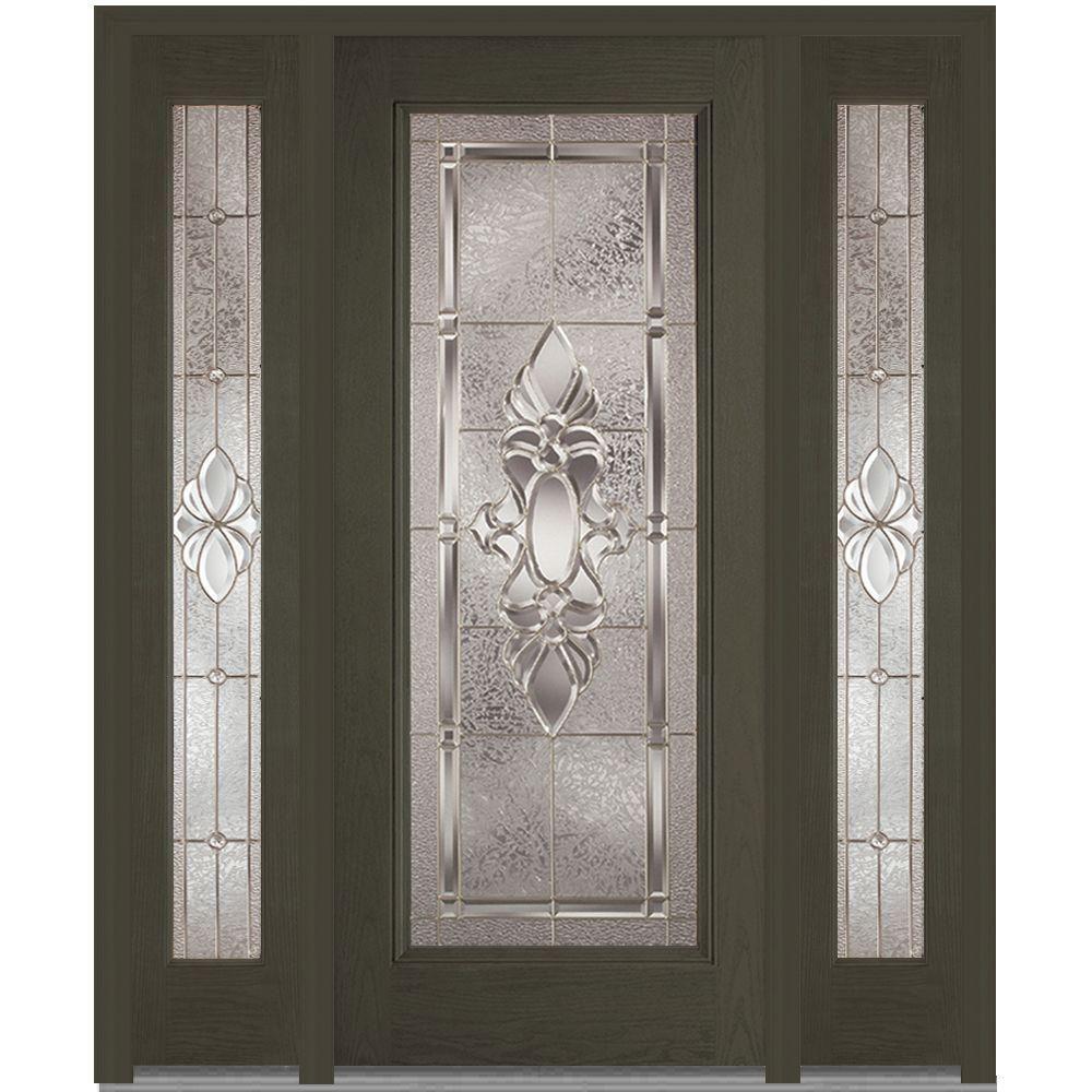 Milliken Millwork 68.5 in. x 81.75 in. Heirloom Master Decorative Glass Full Lite Finished Fiberglass Oak Exterior Door with Sidelites, New Ebony