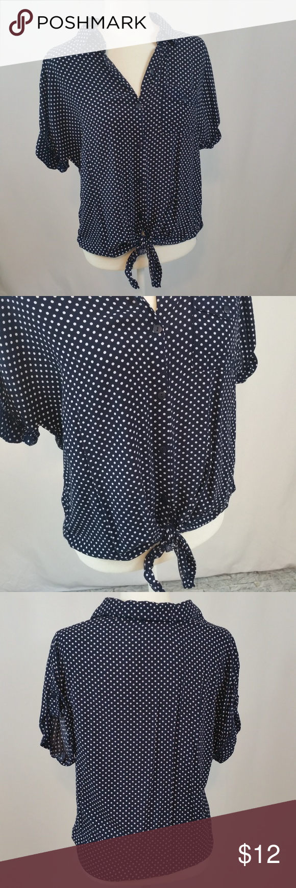 Love Note Button Down Top sz L Love Notes top size large.  Button Down Single pocket  ties at waist short sleeve  Navy with white polka dots approximate measurements underarm to underarm 19