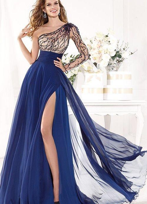 30e723a8bb83d Derin yırtmaçlı tek kollu mavi renkli 2015 son tasarım bayan abiye elbise  modeli