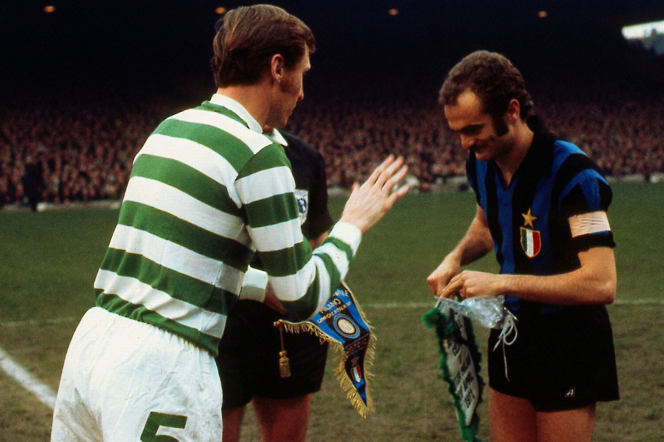 April 1973 Billy McNeill and Inter Milan captain Sandro Mazzola