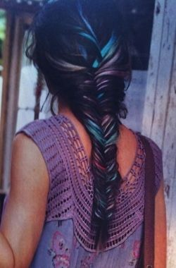 Make your fishtail plait more interesting with hair chalk. This is a great example