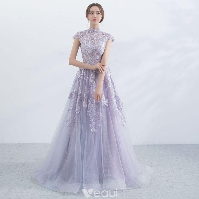 5ac23af18fe437 Elegant Lavender Evening Dresses 2017 A-Line / Princess High Neck Short  Sleeve Appliques Lace Sweep Train Ruffle Pierced Formal Dresses