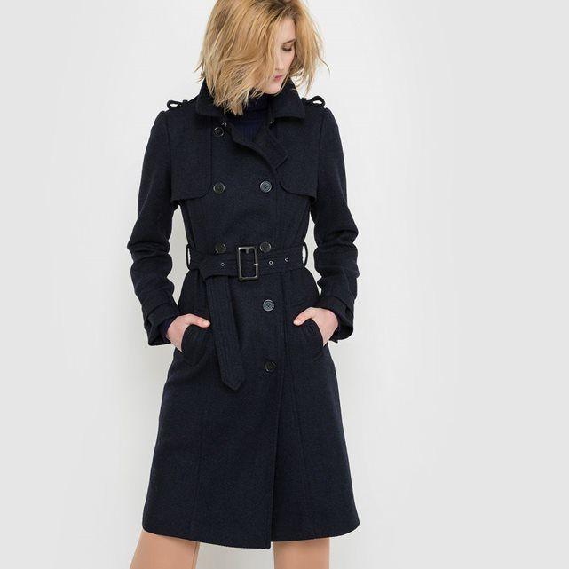 cool atelier r le trench drap de laine la redoute with redoute draps. Black Bedroom Furniture Sets. Home Design Ideas
