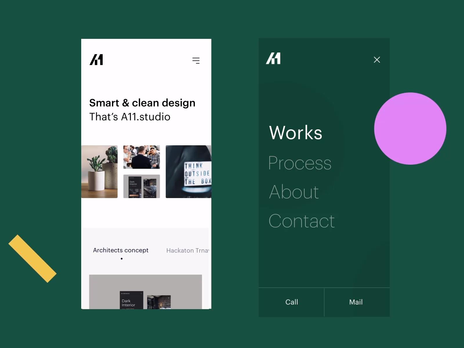 A11.studio Mobile Menu Interaction / Animation