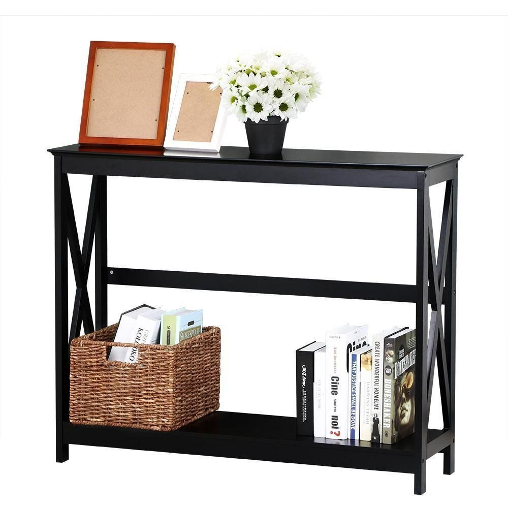 amazoncom topeakmart 2 tier large black console table x design accent tables with