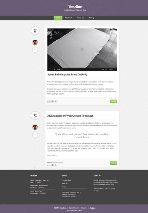 Top Best Free Blogger Templates Which Are Suitable For Magazine - Timeline blogger template