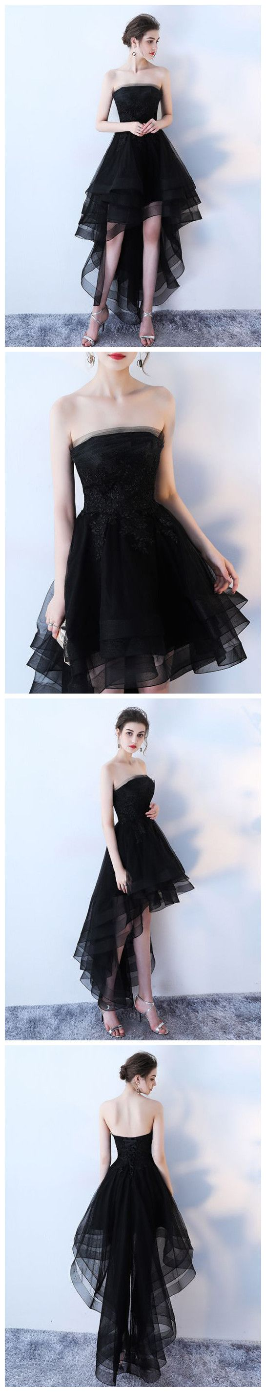 47bdf0497f5 CHIC A-LINE BLACK STRAPLESS SIMPLE TULLE HIGH LOW PROM DRESS EVENING DRESS  AM584