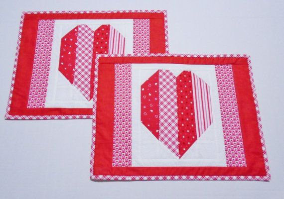 Valentine Placemats Quilted Placemats by ForgetMeNotQuilteds | My ...