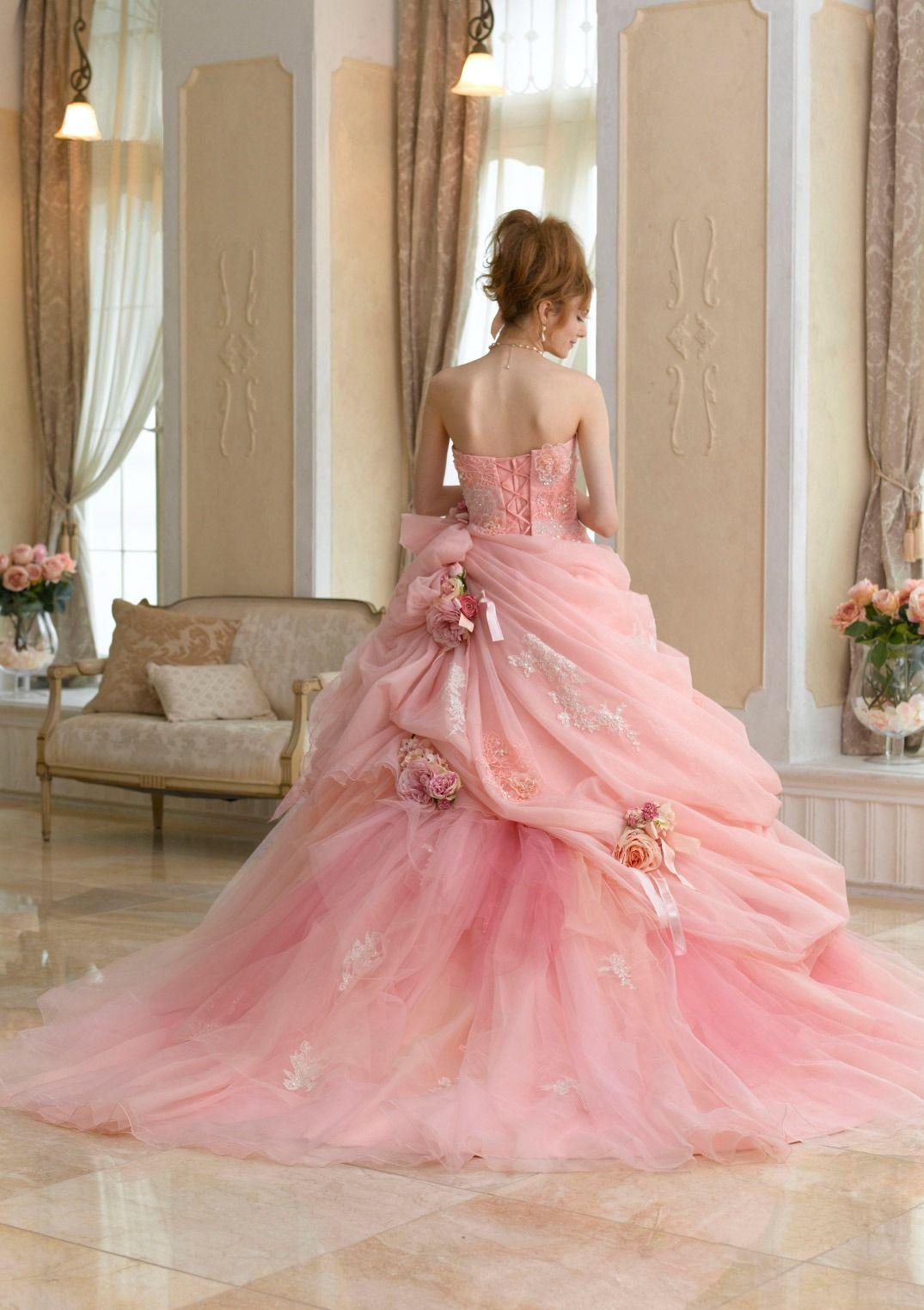 Pink and ivory wedding dress  dballdress ballgown  D R E S S E S  Pinterest  Gowns Princess