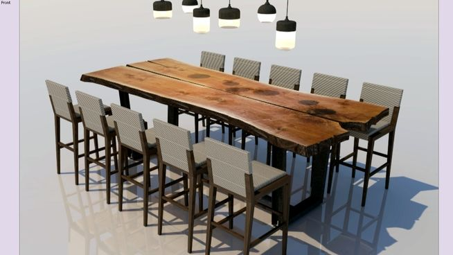 Large preview of 3d model of reclaimed raw wood table sketchup