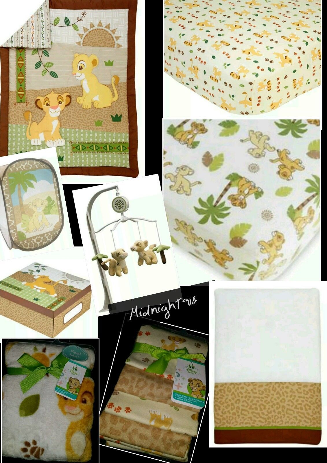 New 12 Pieces Disney Baby The Lion King Simba Under Sun Crib Bedding Set