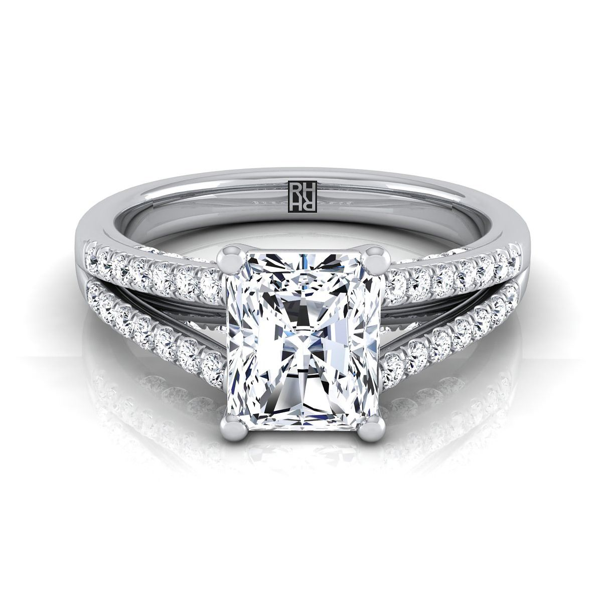 Radiant cut diamond engagement ring with split pave shank in k